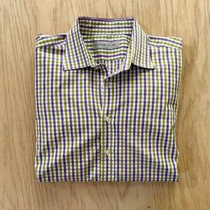 Mens ETRO Italy Made Purple Green White Gingham Check Dress Shirt 46 XXL